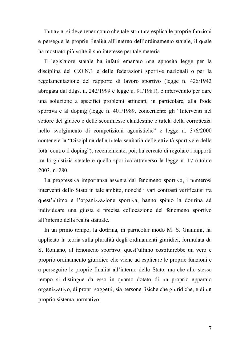 Anteprima della tesi: Il fenomeno sportivo nello Stato italiano tra la teoria pluralistico-ordinamentale e l'impostazione statualistica, Pagina 2