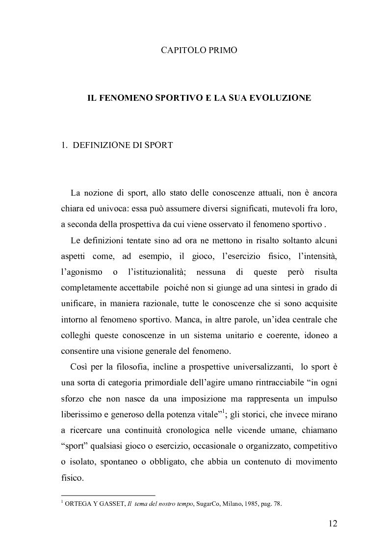 Anteprima della tesi: Il fenomeno sportivo nello Stato italiano tra la teoria pluralistico-ordinamentale e l'impostazione statualistica, Pagina 7