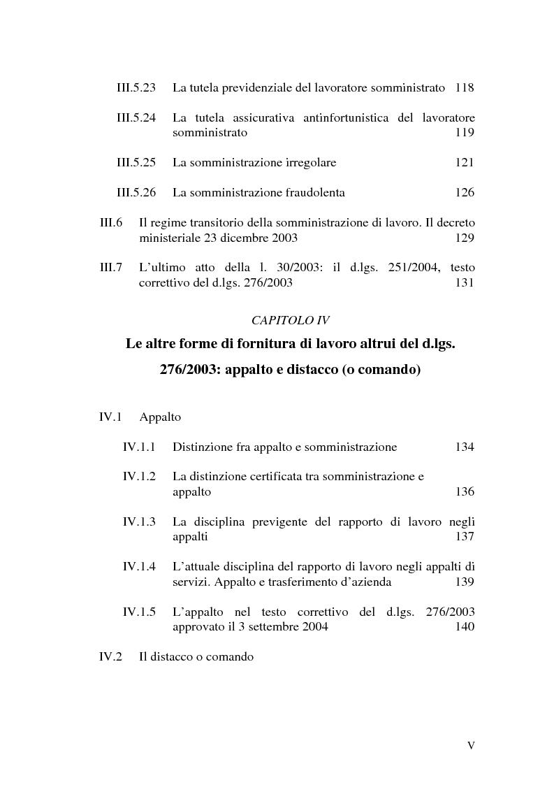 Indice della tesi: Dal divieto d'interposizione nella manodopera alla somministrazione di lavoro, Pagina 5