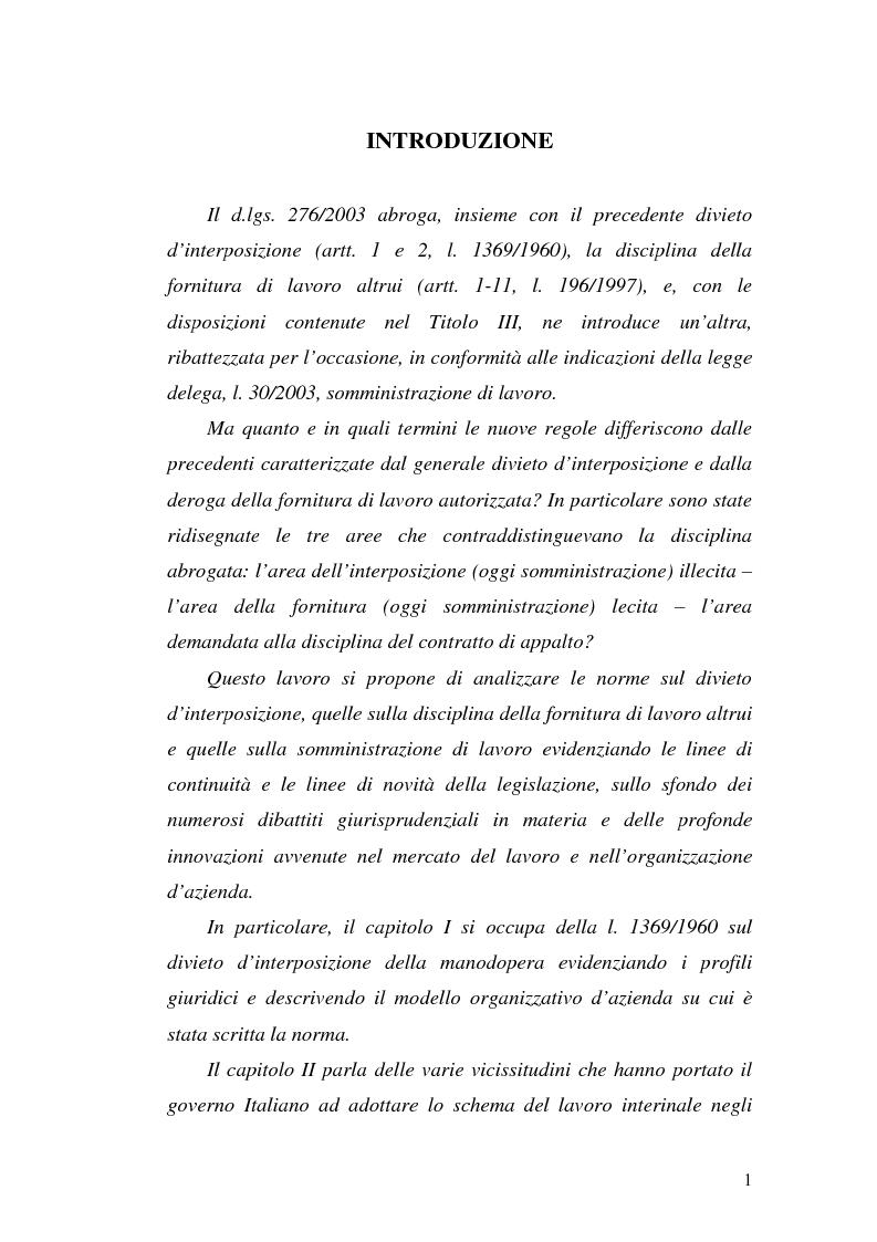 Anteprima della tesi: Dal divieto d'interposizione nella manodopera alla somministrazione di lavoro, Pagina 1