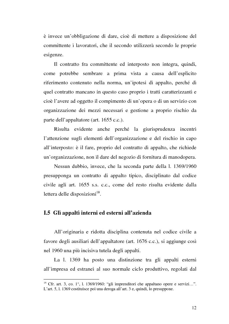 Anteprima della tesi: Dal divieto d'interposizione nella manodopera alla somministrazione di lavoro, Pagina 12