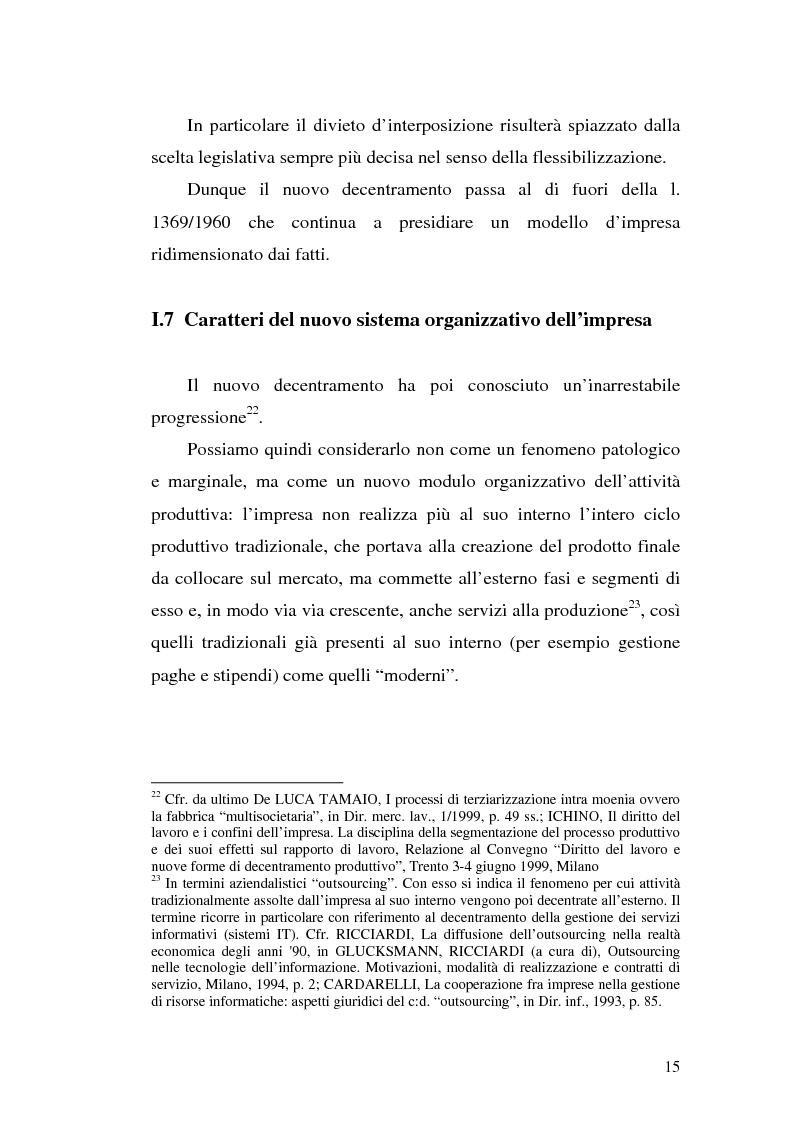 Anteprima della tesi: Dal divieto d'interposizione nella manodopera alla somministrazione di lavoro, Pagina 15