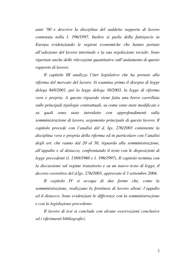 Anteprima della tesi: Dal divieto d'interposizione nella manodopera alla somministrazione di lavoro, Pagina 2