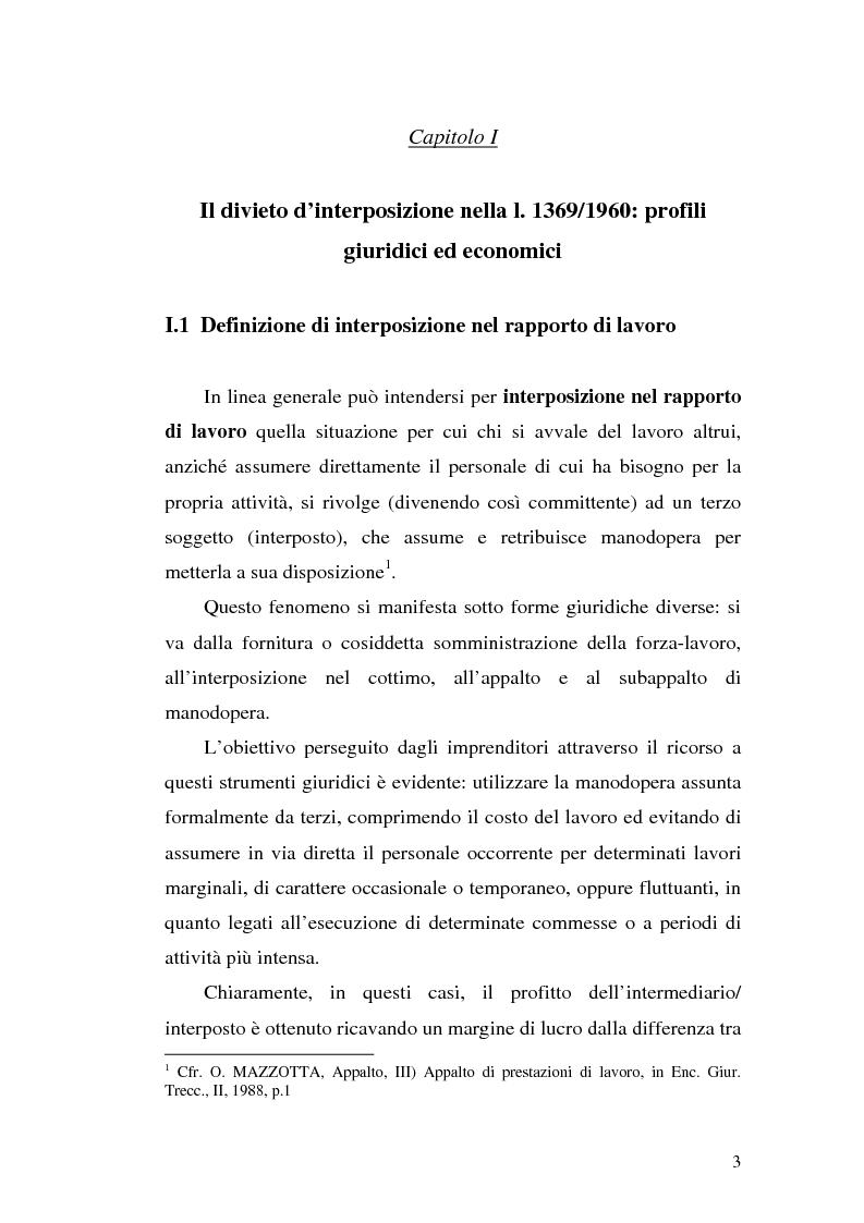 Anteprima della tesi: Dal divieto d'interposizione nella manodopera alla somministrazione di lavoro, Pagina 3