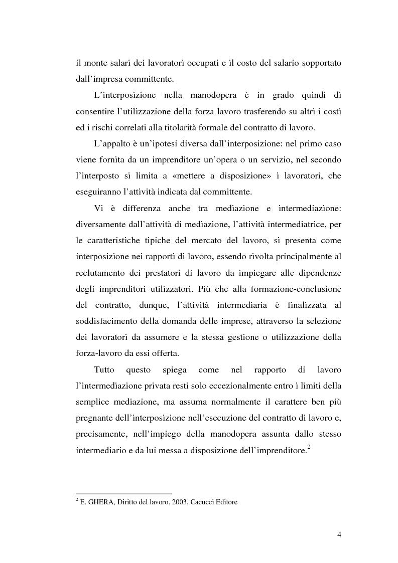 Anteprima della tesi: Dal divieto d'interposizione nella manodopera alla somministrazione di lavoro, Pagina 4