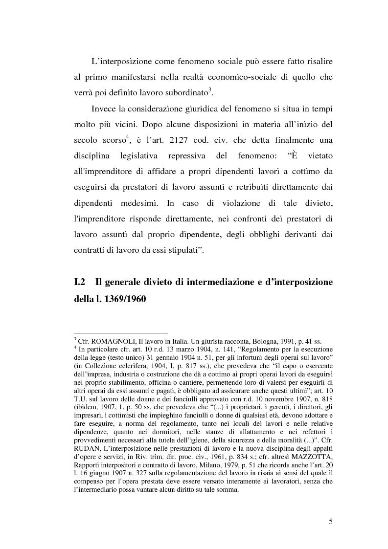 Anteprima della tesi: Dal divieto d'interposizione nella manodopera alla somministrazione di lavoro, Pagina 5