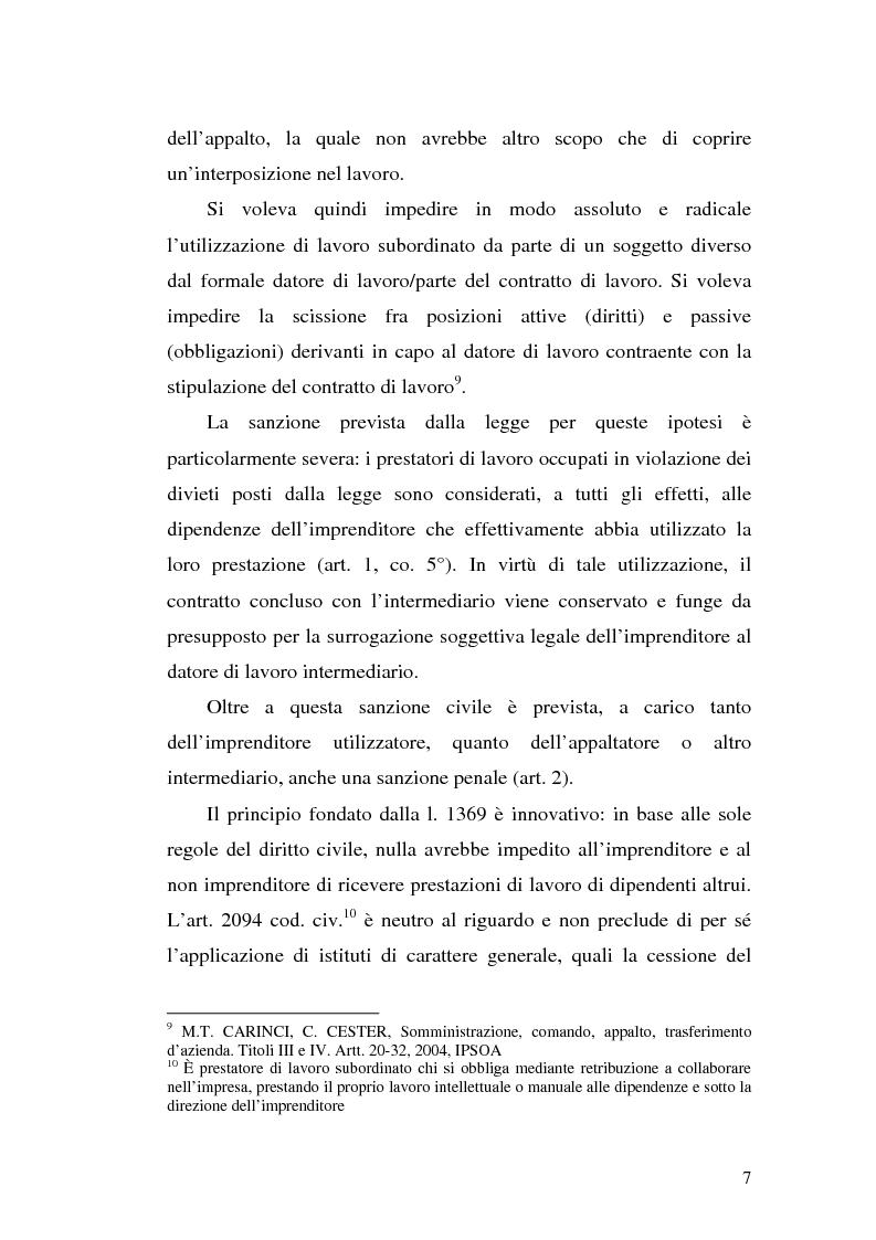 Anteprima della tesi: Dal divieto d'interposizione nella manodopera alla somministrazione di lavoro, Pagina 7