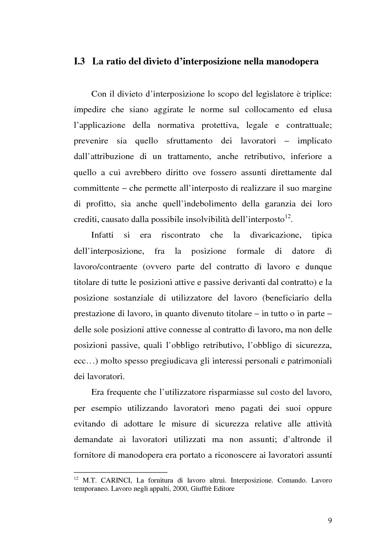 Anteprima della tesi: Dal divieto d'interposizione nella manodopera alla somministrazione di lavoro, Pagina 9