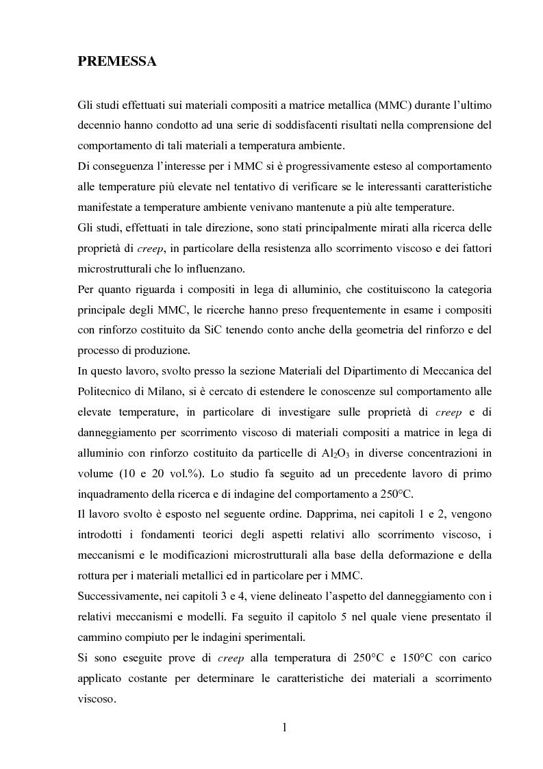 Anteprima della tesi: Scorrimento viscoso e danneggiamento in compositi a matrice metallica, Pagina 1