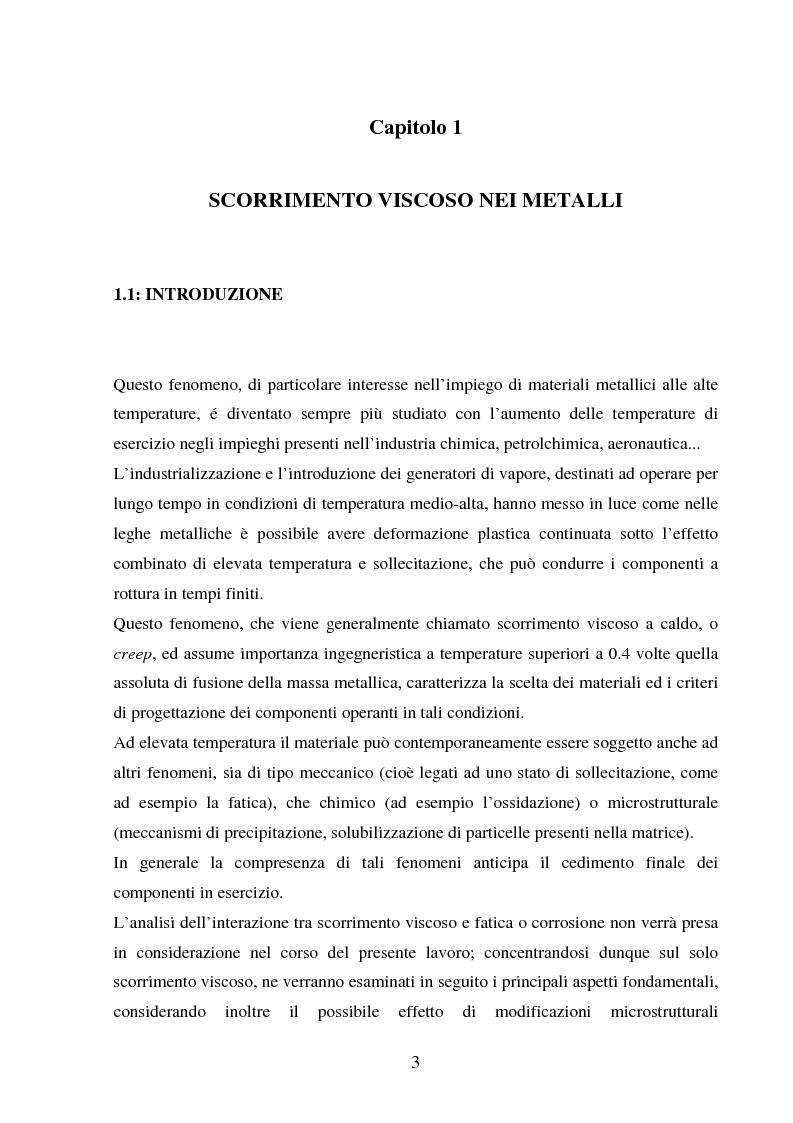 Anteprima della tesi: Scorrimento viscoso e danneggiamento in compositi a matrice metallica, Pagina 3