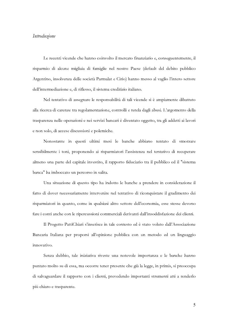 Anteprima della tesi: Profili evolutivi della trasparenza bancaria: dal testo unico delle leggi in materia bancaria e creditizia al progetto PattiChiari, Pagina 1