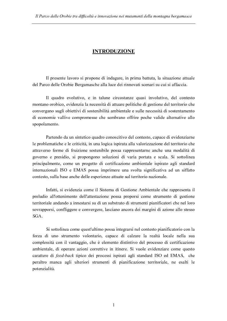 Anteprima della tesi: Il Parco delle Orobie tra difficoltà e innovazione nei mutamenti della montagna bergamasca, Pagina 1
