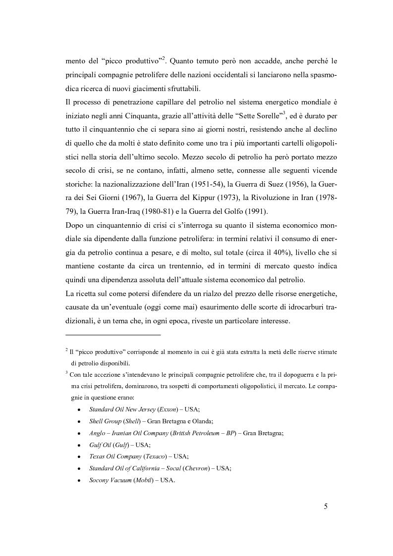 Anteprima della tesi: La crisi nel settore mondiale degli idrocarburi (il ruolo delle repubbliche caspiche nel mercato energetico internazionale), Pagina 5