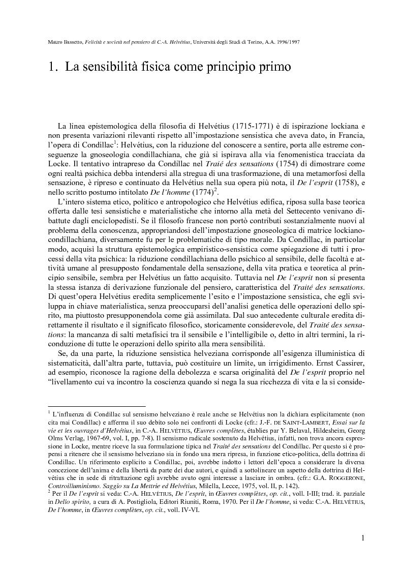 Anteprima della tesi: Felicità e società nel pensiero di C.-A. Helvétius, Pagina 4