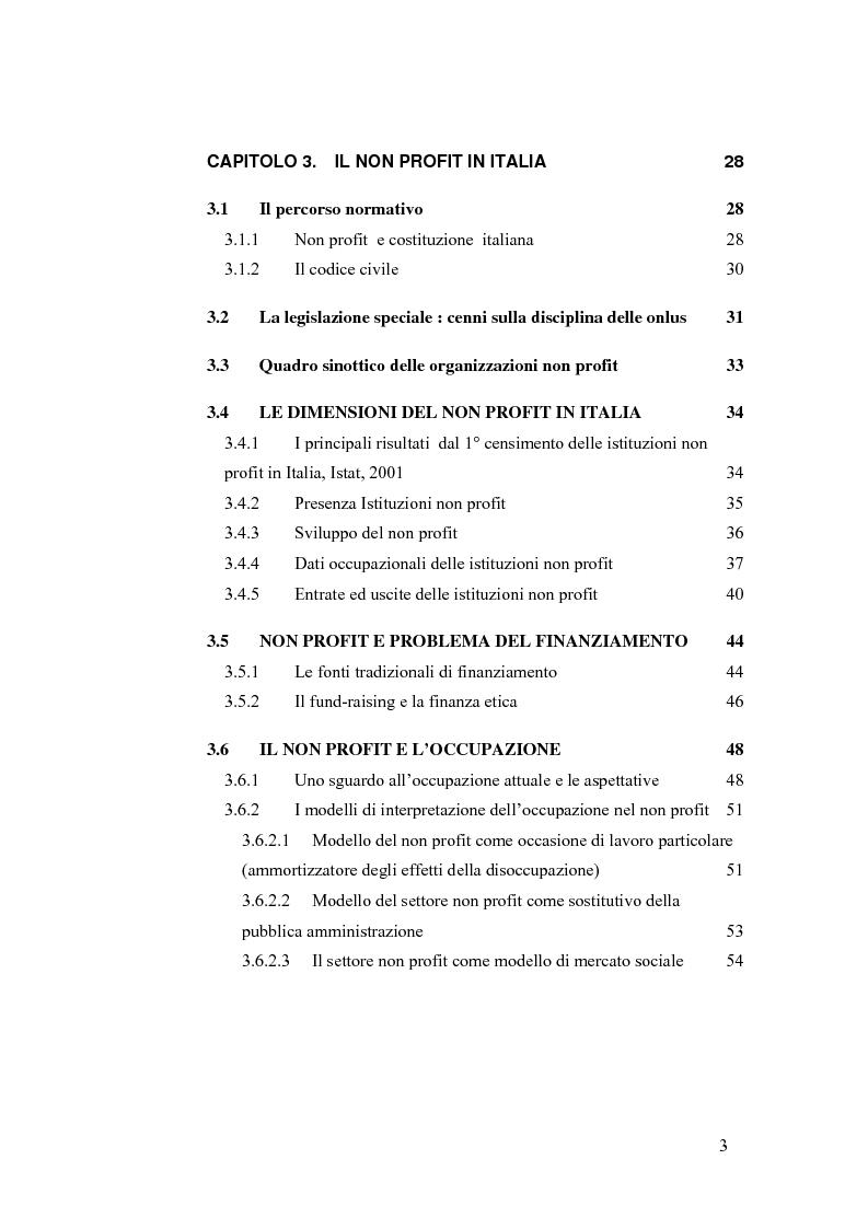 Indice della tesi: Non profit e fondazioni, Pagina 2