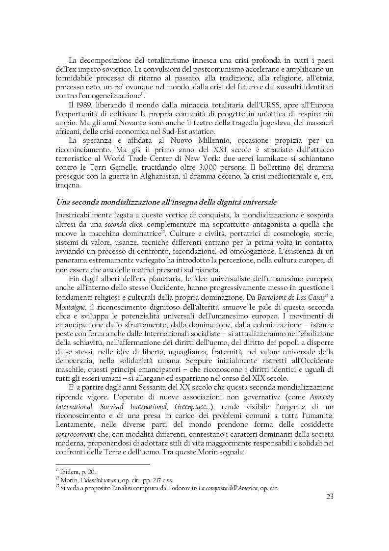 Anteprima della tesi: Comunità di destino. Educare alla complessità nell'era planetaria secondo il pensiero di Edgar Morin, Pagina 12