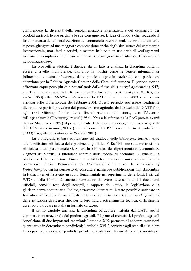 Anteprima della tesi: La disciplina internazionale del commercio dei prodotti agricoli: l'Organizzazione mondiale del commercio e la Comunità europea, Pagina 3