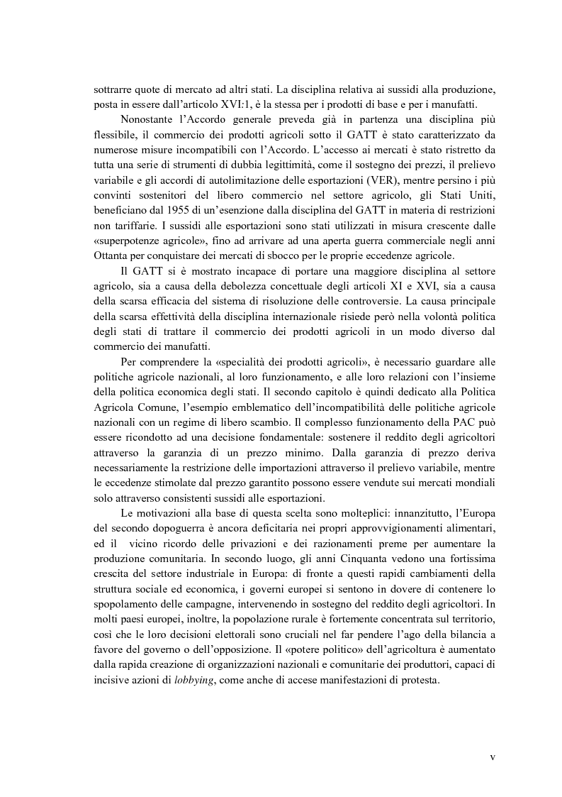 Anteprima della tesi: La disciplina internazionale del commercio dei prodotti agricoli: l'Organizzazione mondiale del commercio e la Comunità europea, Pagina 4