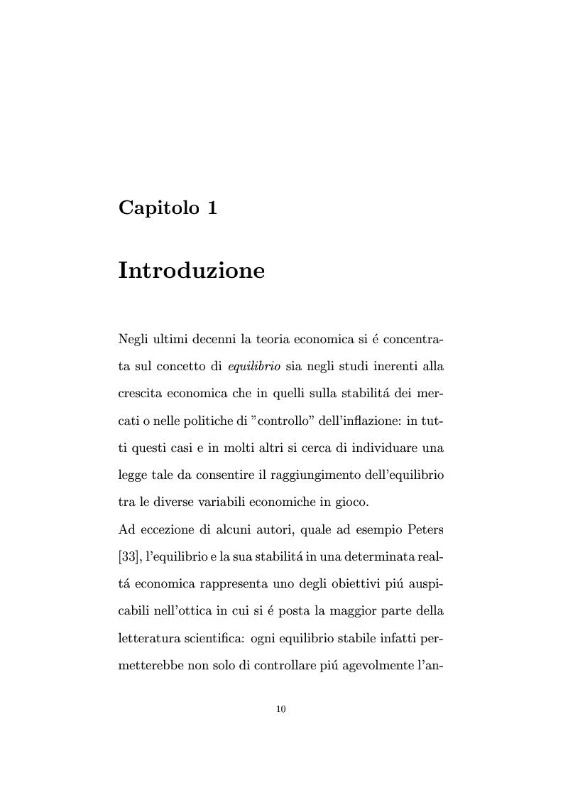 Anteprima della tesi: Non linearità e perturbazioni nei mercati. Analisi dinamica microfondata di un modello con scorte, Pagina 1
