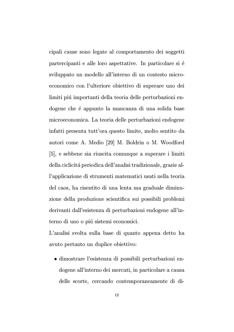 Anteprima della tesi: Non linearità e perturbazioni nei mercati. Analisi dinamica microfondata di un modello con scorte, Pagina 3