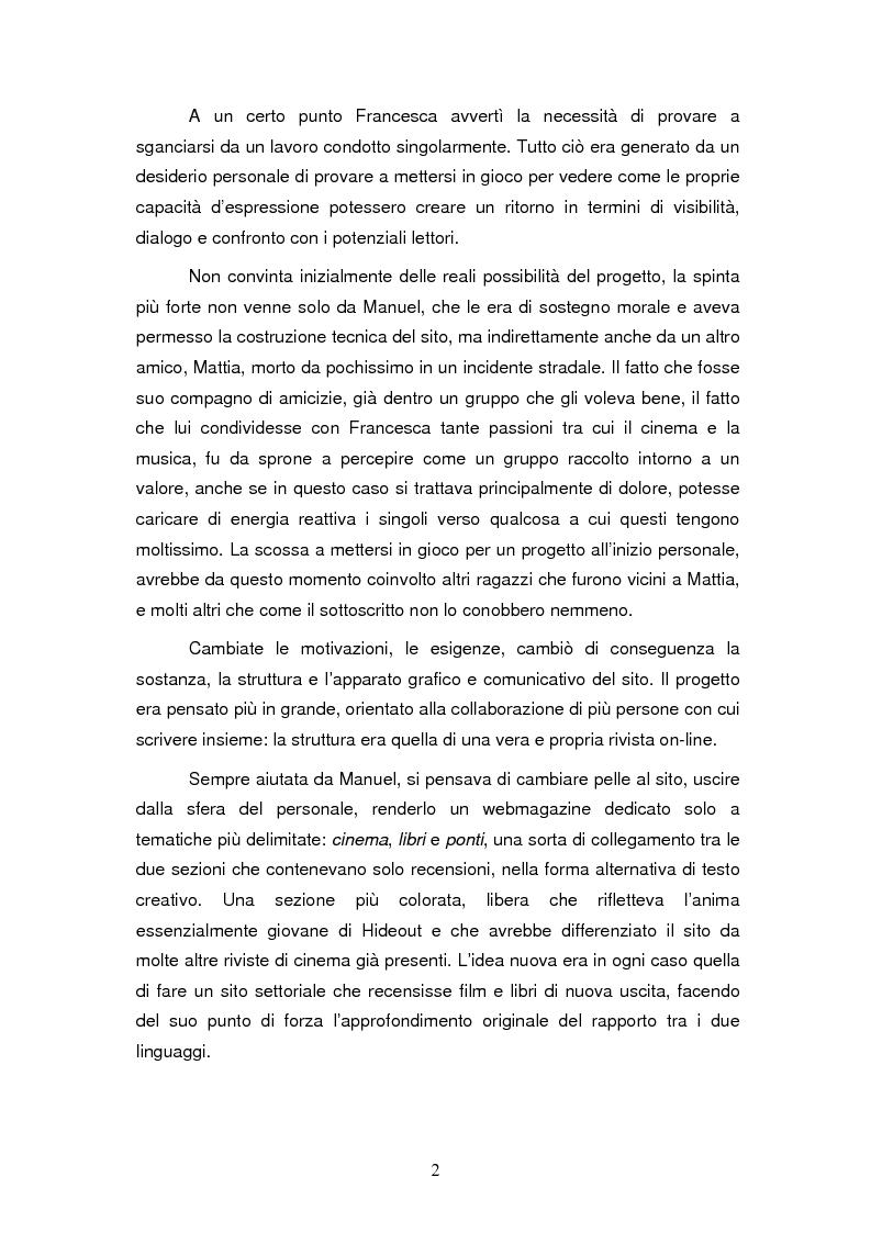 Anteprima della tesi: La costruzione dell'identità di gruppo: il caso Hideout, Pagina 2