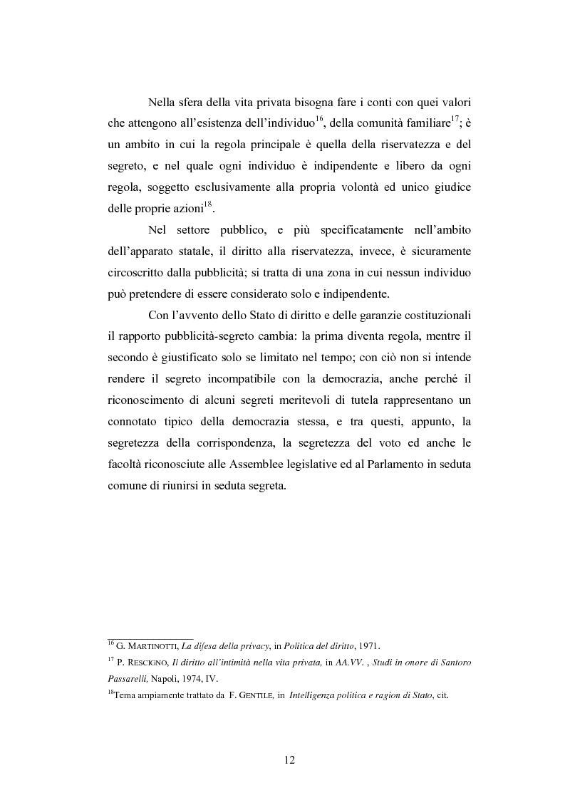 Anteprima della tesi: Il segreto di Stato alla luce dell'evoluzione del diritto all'informazione, Pagina 12