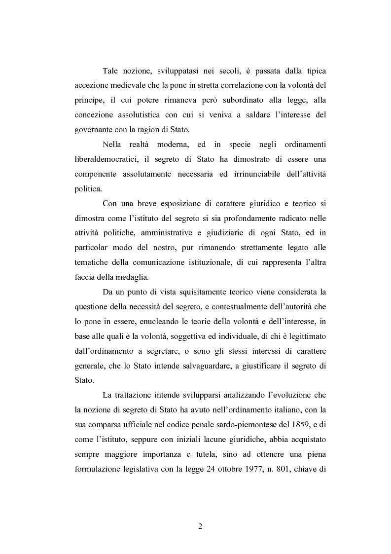 Anteprima della tesi: Il segreto di Stato alla luce dell'evoluzione del diritto all'informazione, Pagina 2