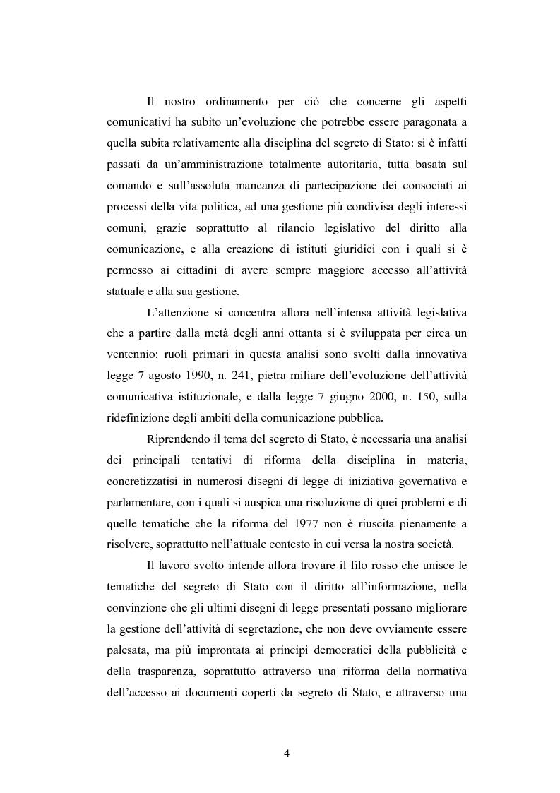Anteprima della tesi: Il segreto di Stato alla luce dell'evoluzione del diritto all'informazione, Pagina 4