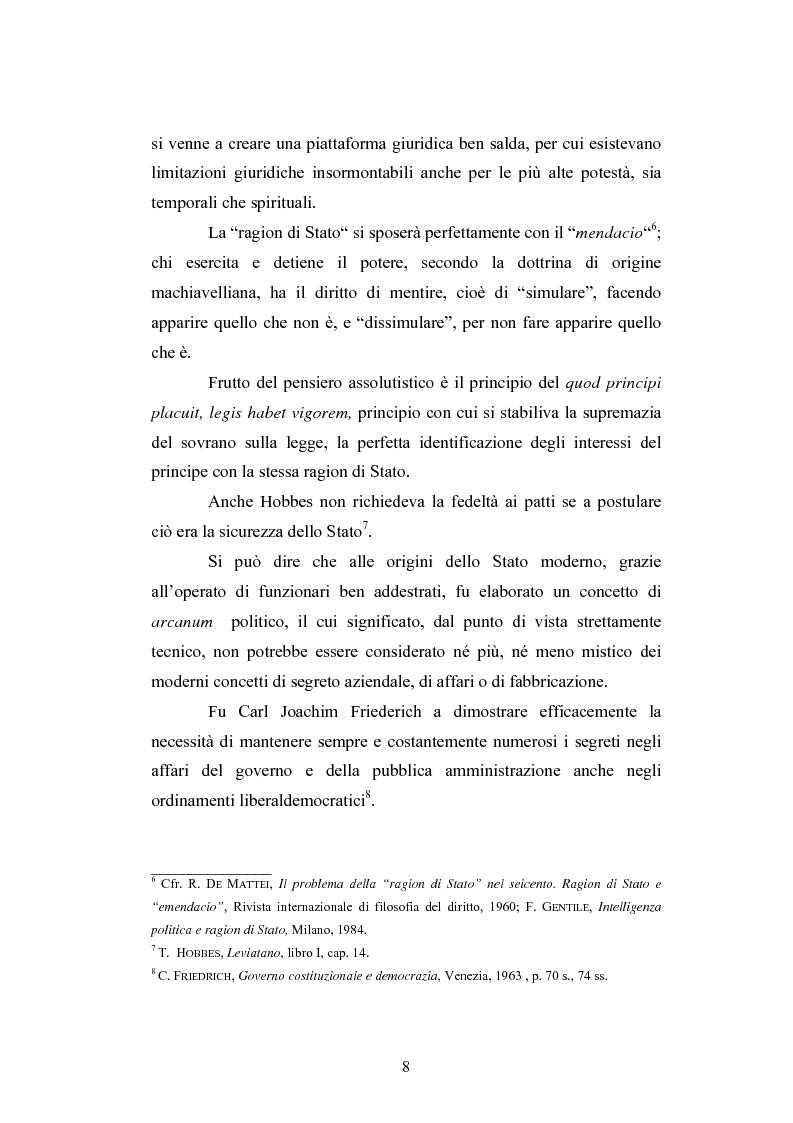 Anteprima della tesi: Il segreto di Stato alla luce dell'evoluzione del diritto all'informazione, Pagina 8