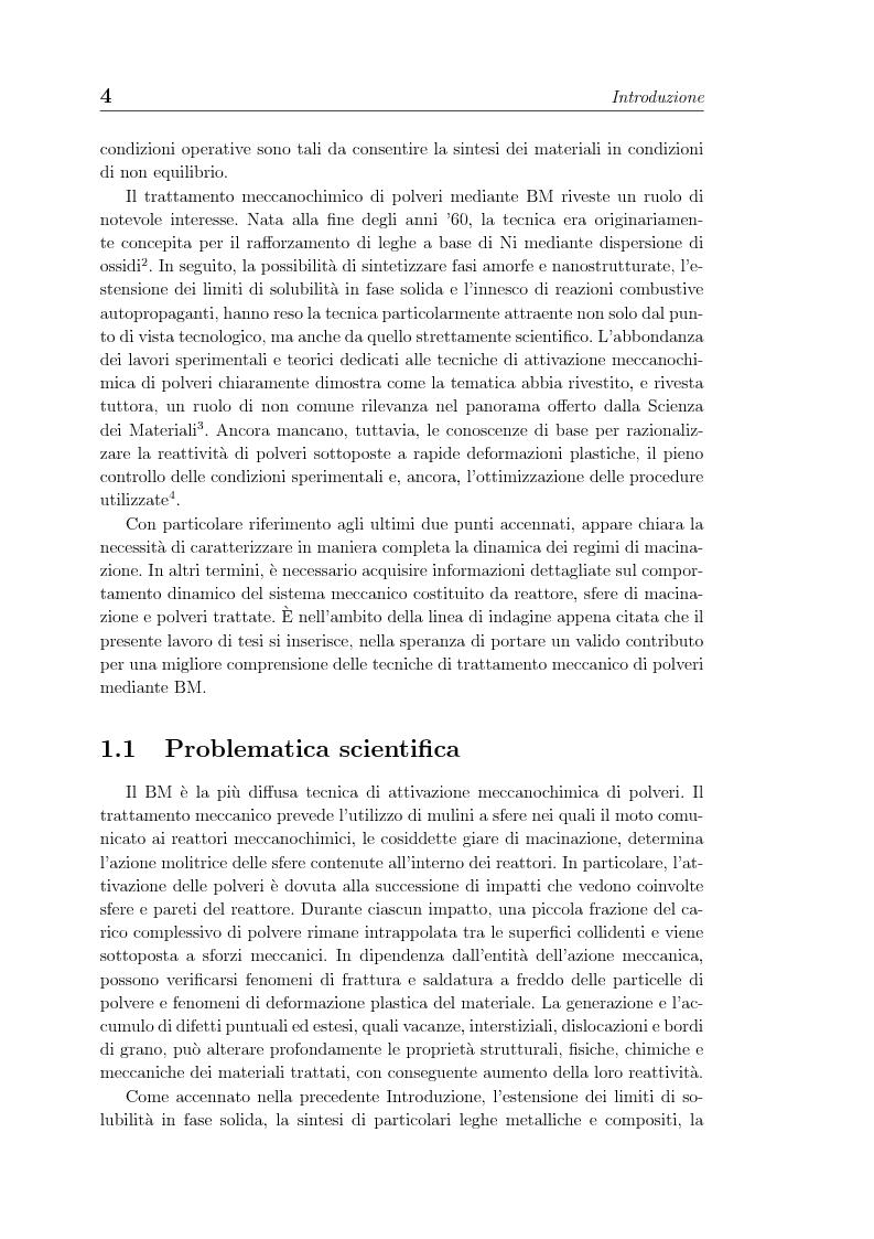 Anteprima della tesi: Non linearita e caos nella dinamica di un gas granulare. Propagazione di reazioni combustive durante l'attivazione meccanochimica., Pagina 4