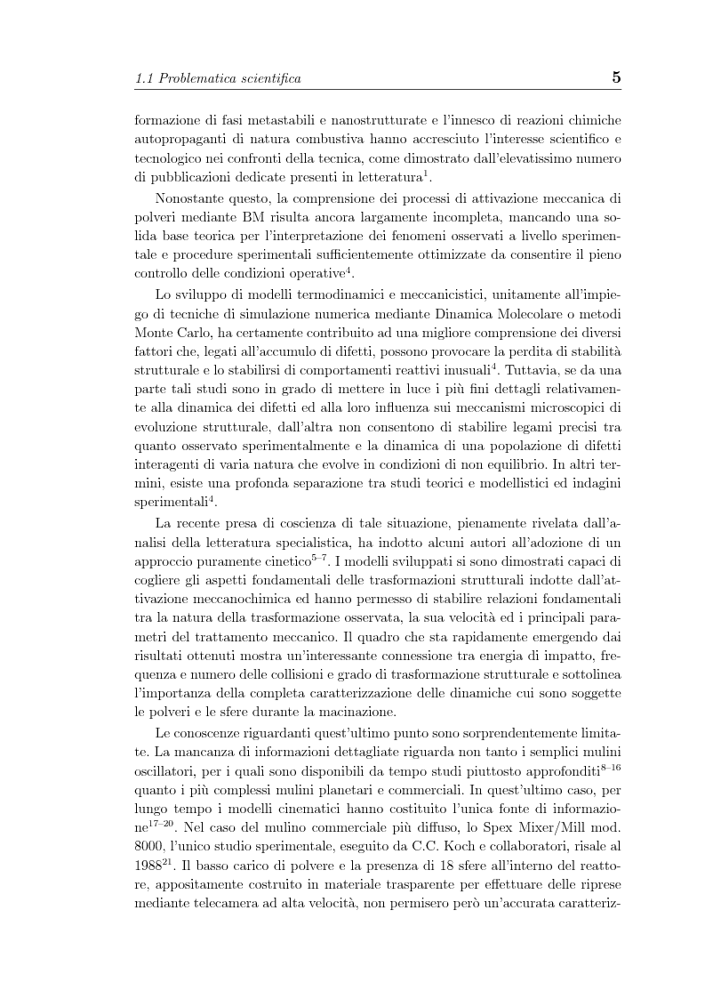 Anteprima della tesi: Non linearita e caos nella dinamica di un gas granulare. Propagazione di reazioni combustive durante l'attivazione meccanochimica., Pagina 5