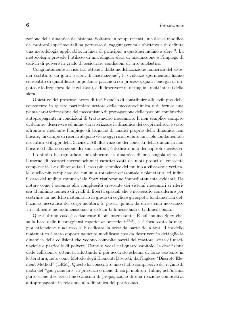 Anteprima della tesi: Non linearita e caos nella dinamica di un gas granulare. Propagazione di reazioni combustive durante l'attivazione meccanochimica., Pagina 6