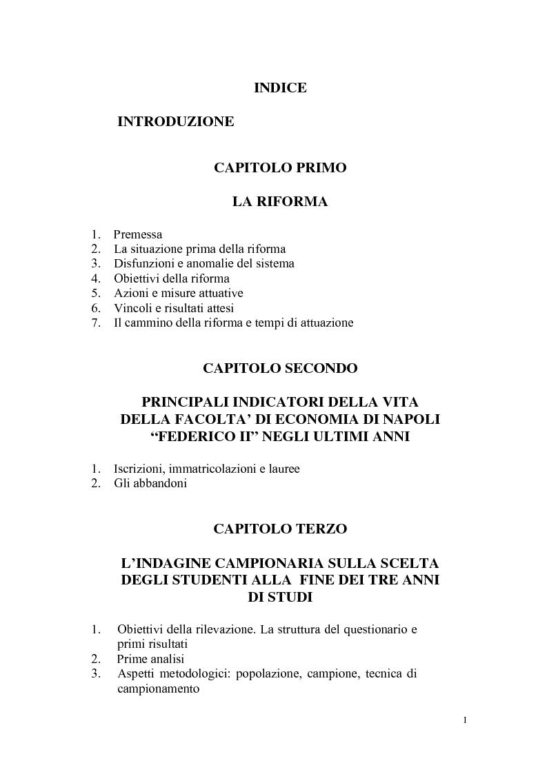Indice della tesi: Indagine statistica sulla nuova laurea triennale, Pagina 1