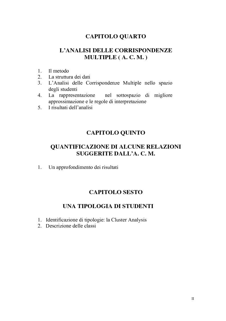 Indice della tesi: Indagine statistica sulla nuova laurea triennale, Pagina 2