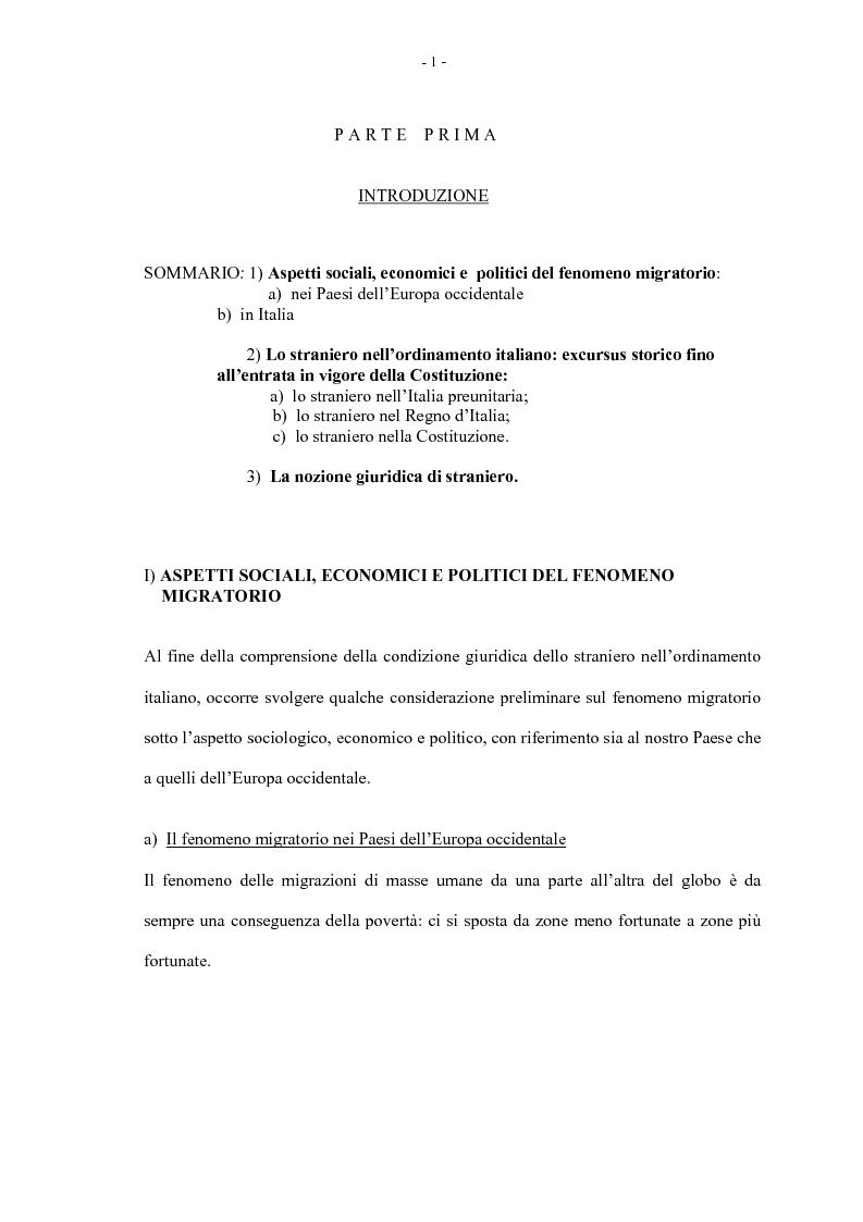 La condizione giuridica dello straniero nella Costituzione Italiana - Tesi di Laurea