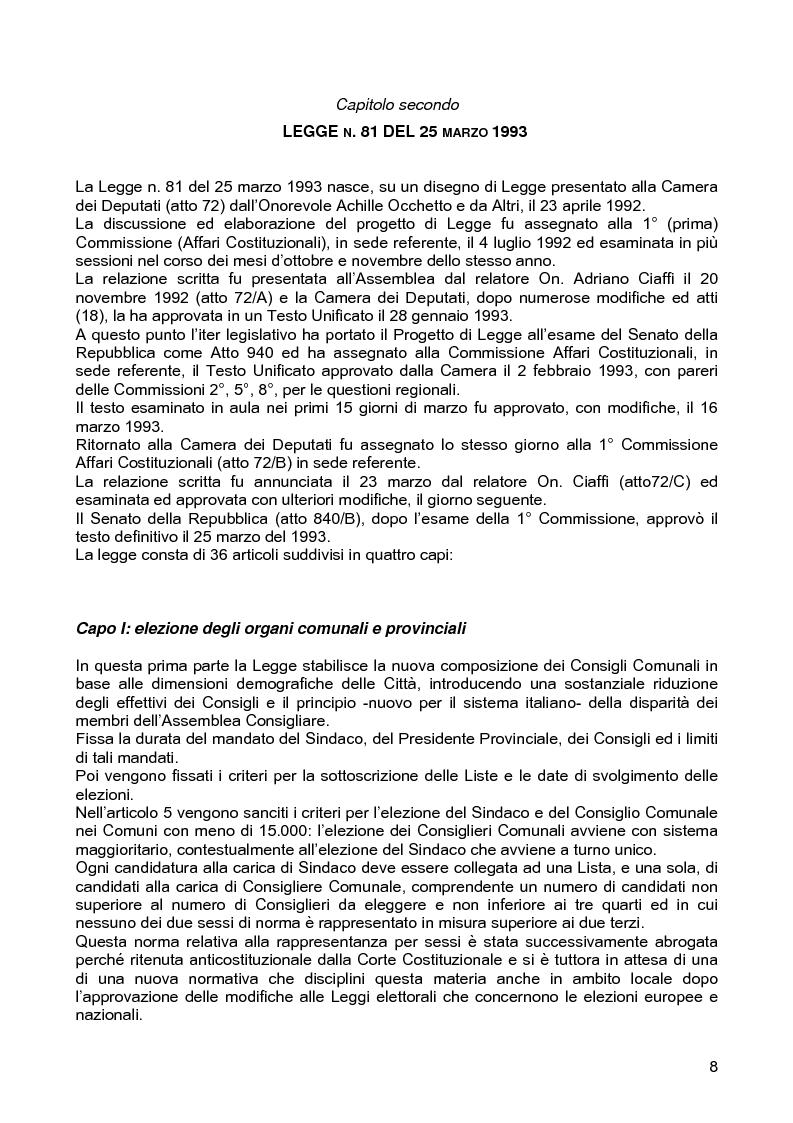 Anteprima della tesi: Le assemblee elettive locali nella transizione italiana. Analisi di un caso, Pagina 6