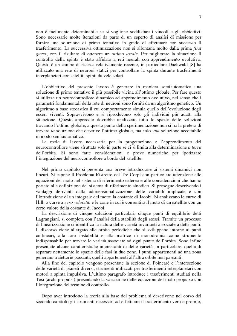 Anteprima della tesi: Trasferimenti Interplanetari a Bassa Spinta Tramite Varietà Invarianti e Neurocontrollori Evolutivi, Pagina 3