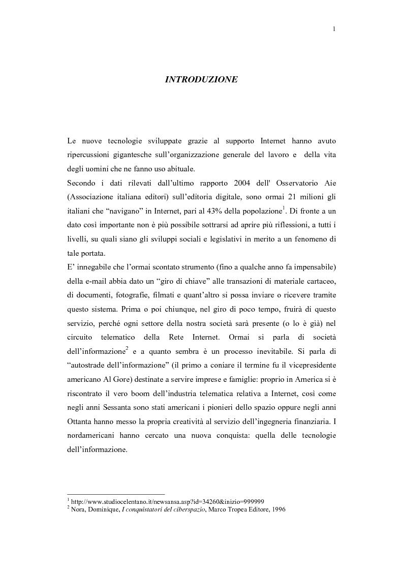 Anteprima della tesi: Il problema della regolamentazione di Internet tra autonomia ed eteronomia, Pagina 1