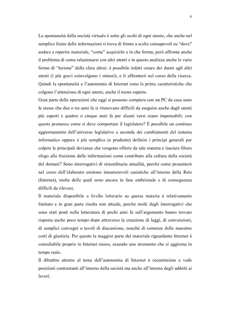 Anteprima della tesi: Il problema della regolamentazione di Internet tra autonomia ed eteronomia, Pagina 4