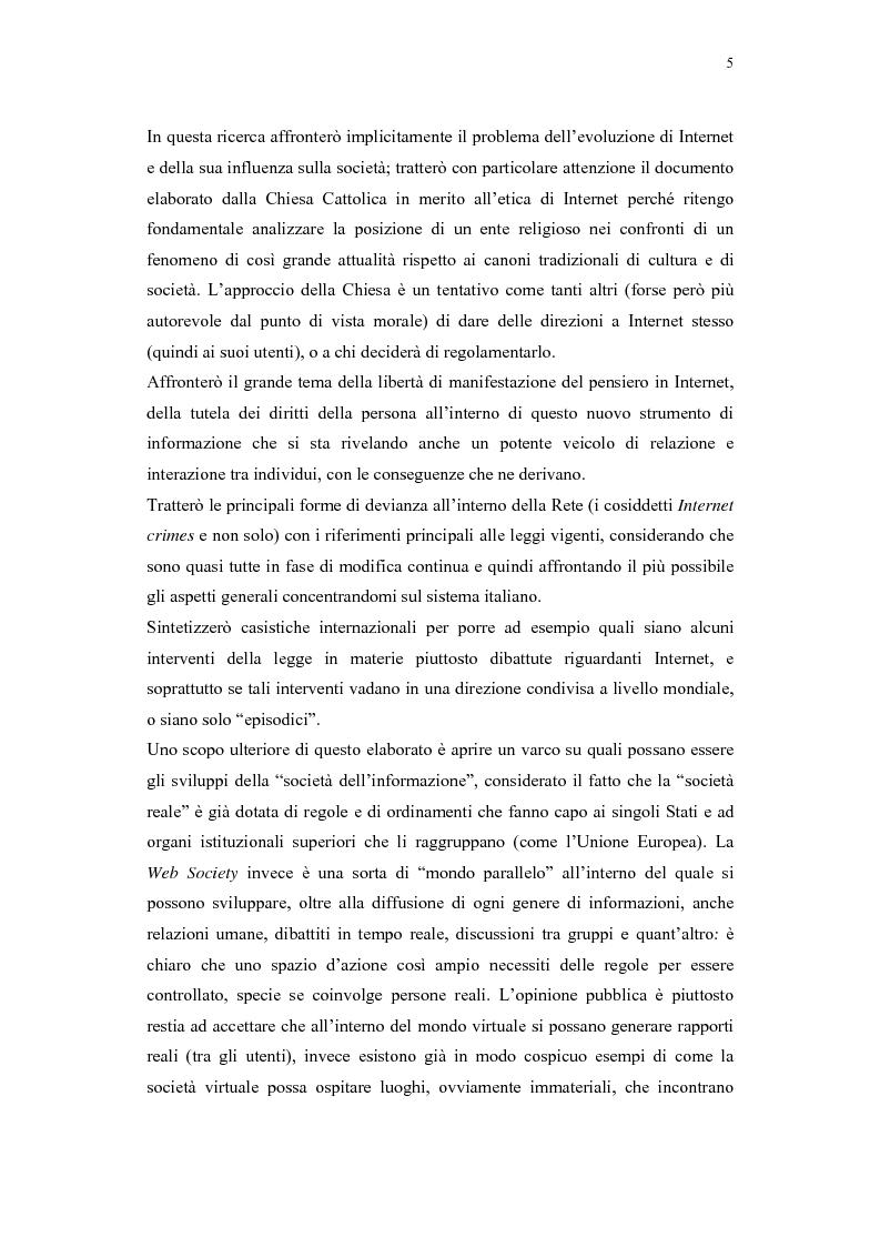 Anteprima della tesi: Il problema della regolamentazione di Internet tra autonomia ed eteronomia, Pagina 5