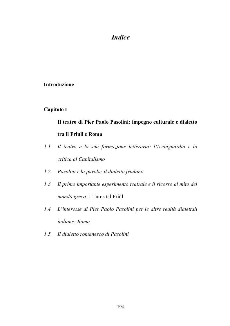 Indice della tesi: Il Vantone tra mito e dialetto. Il teatro di Pier Paolo Pasolini, Pagina 1