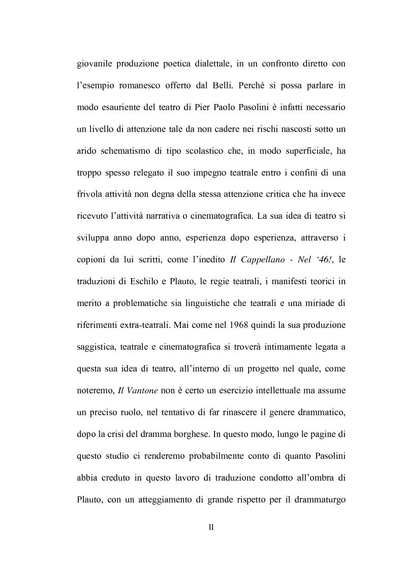 Anteprima della tesi: Il Vantone tra mito e dialetto. Il teatro di Pier Paolo Pasolini, Pagina 2