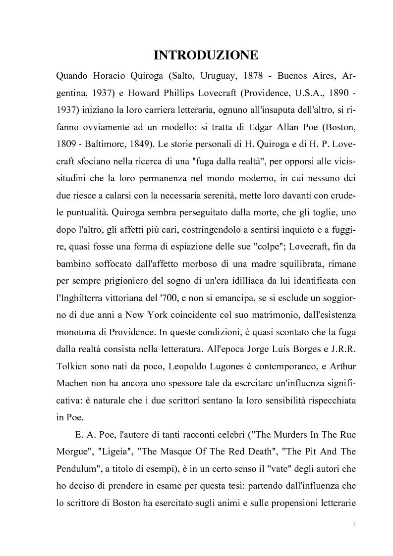 Anteprima della tesi: Due ''filosofie'' dell'orrore: Horacio Quiroga e Howard Phillips Lovecraft, Pagina 1