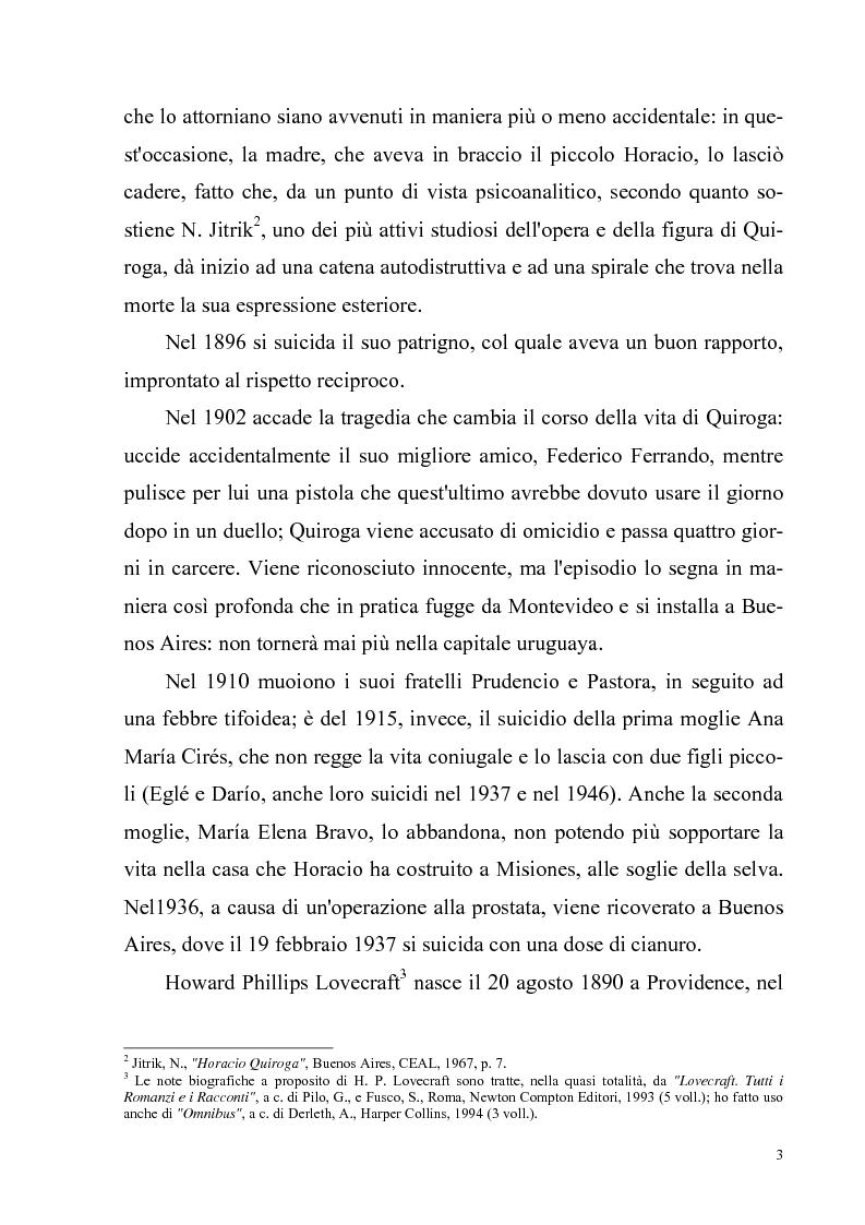 Anteprima della tesi: Due ''filosofie'' dell'orrore: Horacio Quiroga e Howard Phillips Lovecraft, Pagina 3