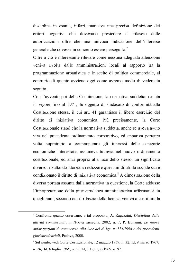 Anteprima della tesi: La discrezionalità amministrativa nella disciplina del commercio al dettaglio in sede fissa, Pagina 10