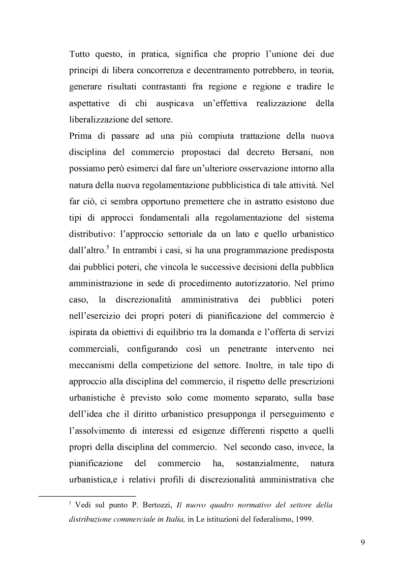 Anteprima della tesi: La discrezionalità amministrativa nella disciplina del commercio al dettaglio in sede fissa, Pagina 6
