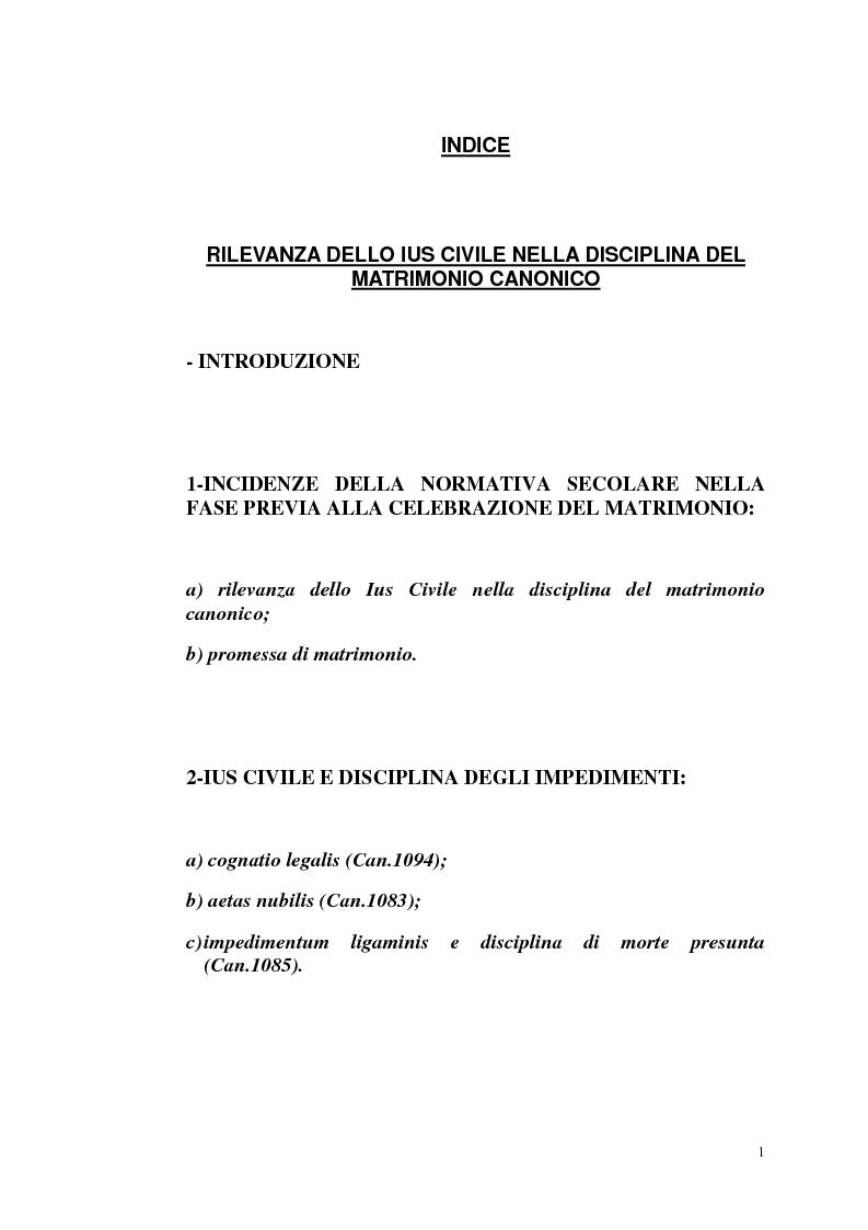 Indice della tesi: Rilevanza dello ius civile nella disciplina del matrimonio canonico, Pagina 1