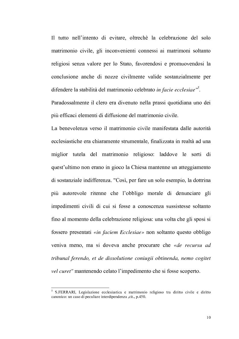 Anteprima della tesi: Rilevanza dello ius civile nella disciplina del matrimonio canonico, Pagina 8
