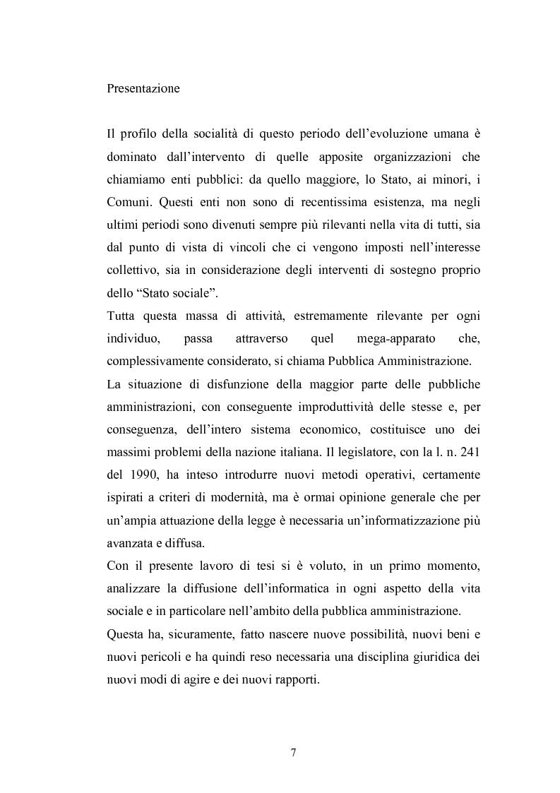 Anteprima della tesi: Problemi giuridici della teleamministrazione e atto elettronico, Pagina 1