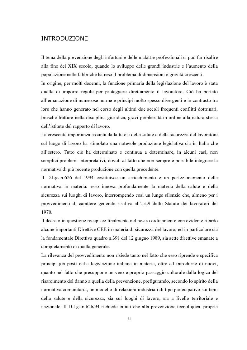 Anteprima della tesi: Gli obblighi del d.lgs 626/94: i soggetti innovativi, Pagina 1